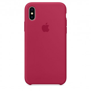 Coque iPhone XS/X Silicone Apple Rose Rouge
