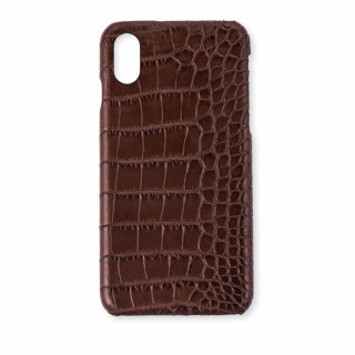 Coque Alligator Véritable iPhone XS/X Marron Foncé