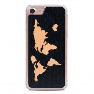 Coque Bois iPhone 6/6s/7 Carved World Map Ebène