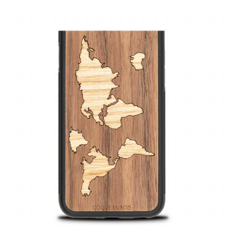 Coque Bois Naturel iPhone XR World Map