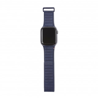 Bracelet Cuir Apple Watch 42/44mm Decoded Traction Strap Bleu