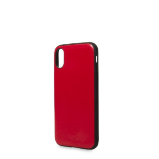 Coque Apple iPhone XS/X Knomo Snap-On Cuir Rouge
