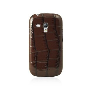 "Coque Samsung Galaxy S3 Mini ""Croco"" Chocolat Brillant"