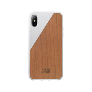 Coque iPhone X Clic Wooden Native Union Blanc