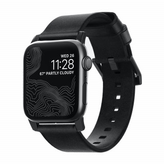 Bracelet Apple Watch Cuir 42/44mm Nomad Modern Noir/Noir