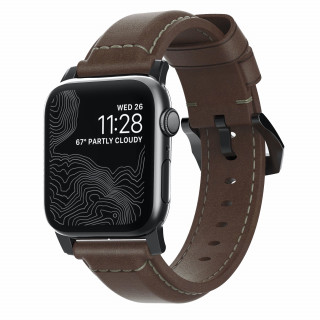 Bracelet Apple Watch Cuir 42/44mm Nomad Tradition Marron/Noir