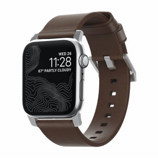 Bracelet Apple Watch Cuir 42/44mm Nomad Modern Marron/Argent
