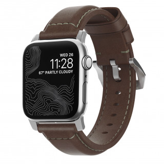 Bracelet Apple Watch Cuir 42/44mm Nomad Tradition Marron/Argent