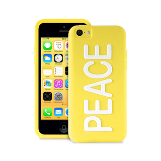 "Coque Apple iPhone 5C Night Cover ""PEACE"" Jaune Puro"