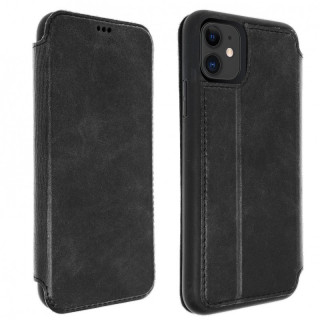 Etui Cuir Folio Apple iPhone 11 Akashi Noir Vintage