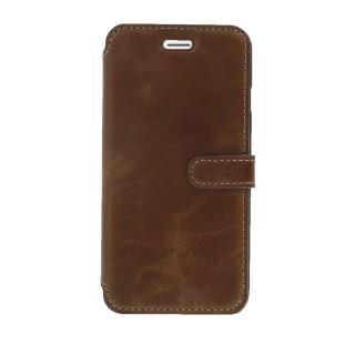 Etui Cuir Folio Apple iPhone 7 Plus/8 Plus Akashi Chocolat Vintage