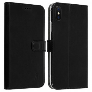 Etui Cuir Folio Apple iPhone X Akashi Noir Vintage
