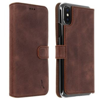 Etui Cuir Folio Apple iPhone XS/X Akashi Marron Foncé Vintage
