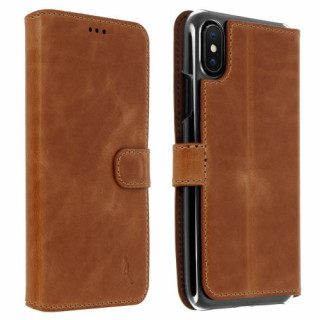 Etui Cuir Folio Apple iPhone X Akashi Marron Vintage