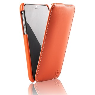 Etui Cuir Apple iPhone 6/6s Issentiel Prestige Ultra Mince Orange/Blanc
