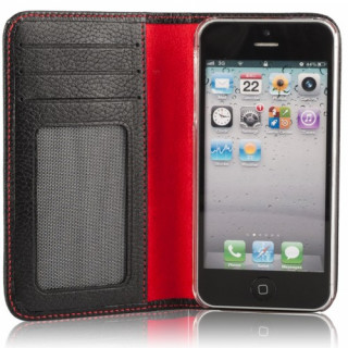 Etui Cuir Apple iPhone 5/5S/SE Issentiel Exclusive Noir Grainé
