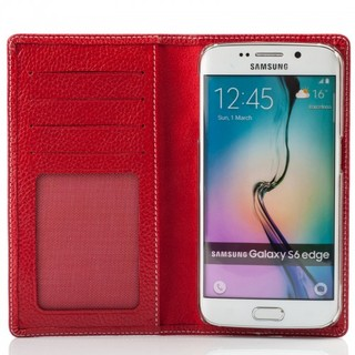 Etui Cuir Samsung Galaxy S6 EDGE Issentiel Exclusive Rouge Grainé