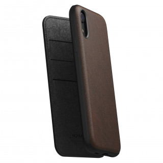 Etui Cuir Apple iPhone XR Nomad Rugged Folio Marron