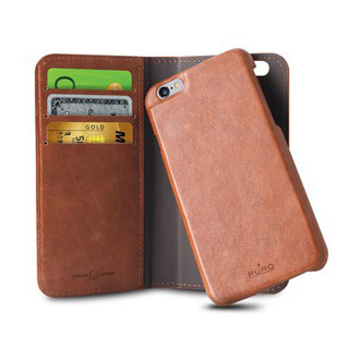 Etui Apple iPhone 6/6s Puro Portfolio Détachable Cuir Marron