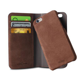 Etui Apple iPhone 6 Plus/6s Plus Puro Portfolio Détachable Cuir Marron Foncé