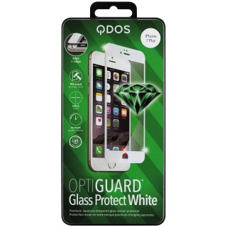 Vitre Protection Ecran iPhone 7 Plus/8 Plus Optiguard Glass Blanc QDOS