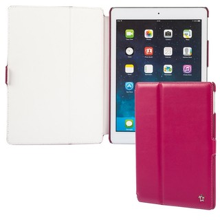 "Housse Apple iPad Air Issentiel ""Prestige"" Cuir Fuchsia/Blanc"
