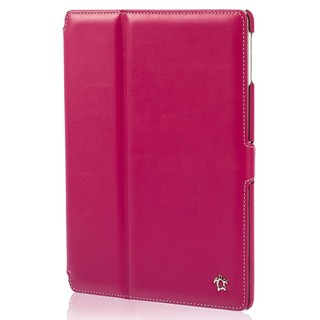 "Housse Apple iPad Air 2 Issentiel ""Prestige"" Cuir Fuchsia/Blanc"