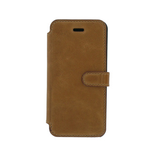 Etui Cuir Folio Apple iPhone 5/5S/SE Akashi Marron Clair Vintage