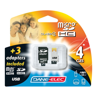 Micro SD HC 4Go Dane-Elec + 3 adaptateurs