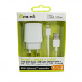 Chargeur Secteur & Cable 2xUSB iPhone/iPod Apple Lightning Muvit Blanc