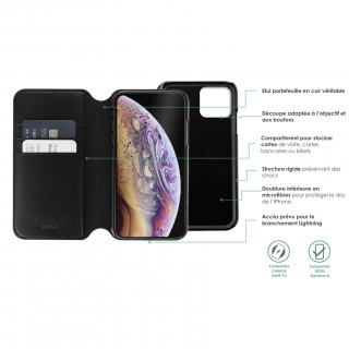 Etui Cuir Portefeuille Apple iPhone 11 Pro Max QDOS Milano Noir