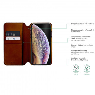 Etui Cuir Portefeuille Apple iPhone 11 Pro Max QDOS Milano Tan