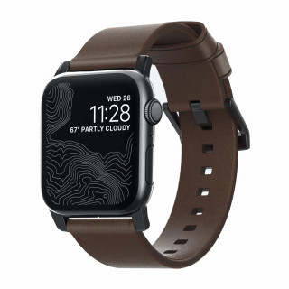 Bracelet Apple Watch Cuir 42/44mm Nomad Modern Marron/Noir