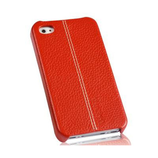 "Coque Apple iPhone 4 / 4S cuir ""Pure"" Rouge Grainé"